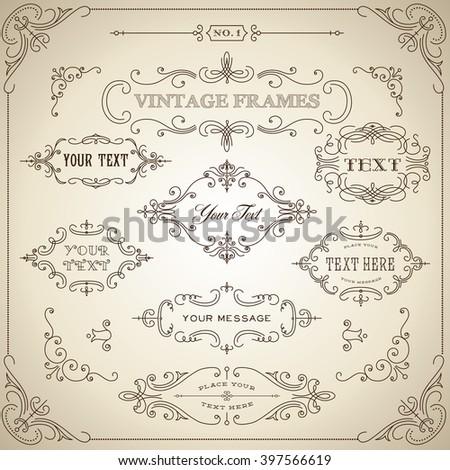 Vintage Frames - Set of ornate vintage frames. Each frame is grouped for easy editing.