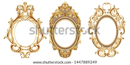 Vintage frames set Vector watercolor. Baroque elegant decor. Victorian luxury craft golden ornament