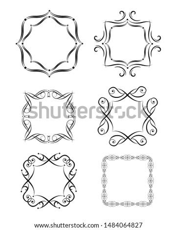 Vintage frames, vignette, book titles and fashion labels for typography design, boutique, sign-board