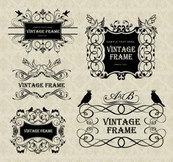 vintage frames with birds