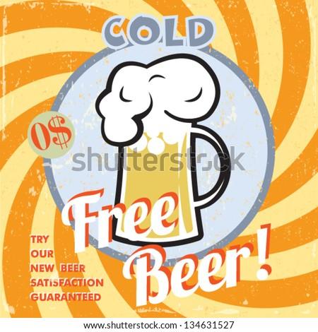 vintage free beer poster