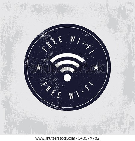 Vintage, free wi fi badge.