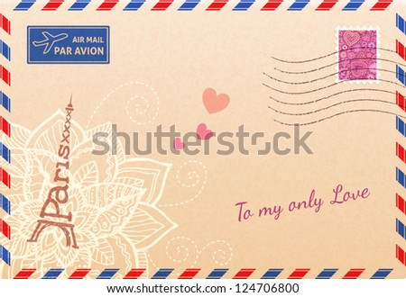 Vintage french envelope with Eiffel tour, flowers and hearts