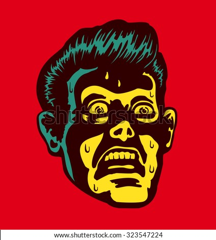 vintage frightened man with