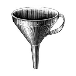 Vintage funnel hand drawing engraving illustration black and white clip art isolated on white background