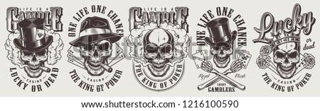 Vintage gambling labels set with gangster skulls in fedora and cylinder hats crown smoking pipes roses playing cards isolated vector illustration