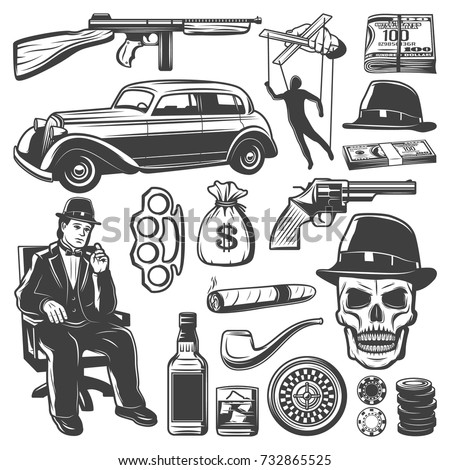 Vintage gangster elements collection with don weapon car money puppet whiskey smoking pipe cigar skull knuckle hat roulette chips isolated vector illustration