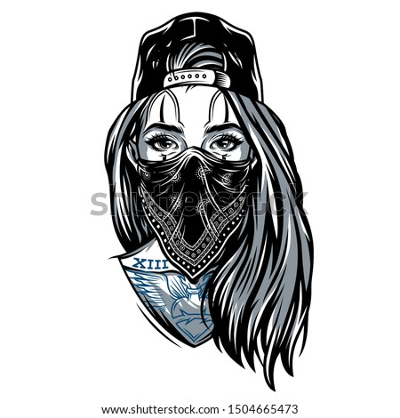 Vintage gangster girl in baseball cap with bandana on her face and chicano style tattoos isolated vector illustration Stock photo ©