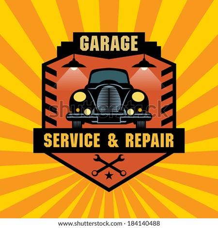 vintage garage label or sign ...