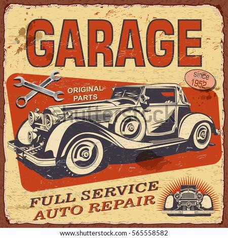 vintage garage  poster with...