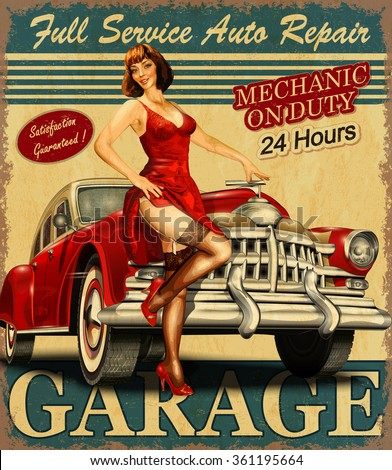 stock vector vintage garage retro poster 361195664 - Каталог — Фотообои «Ретро»