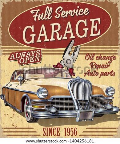 Vintage garage retro poster with retro car.