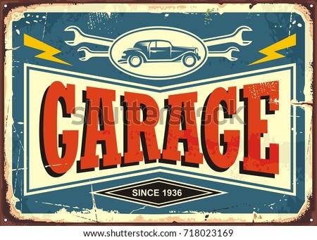 vintage garage sign with car...