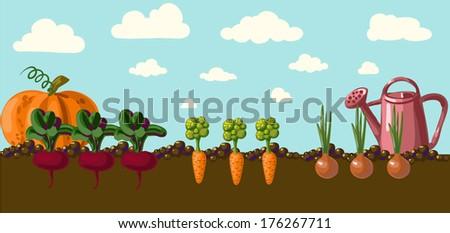 Vintage garden banner - stock vector