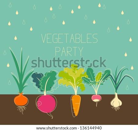 Vintage garden banner with root veggies