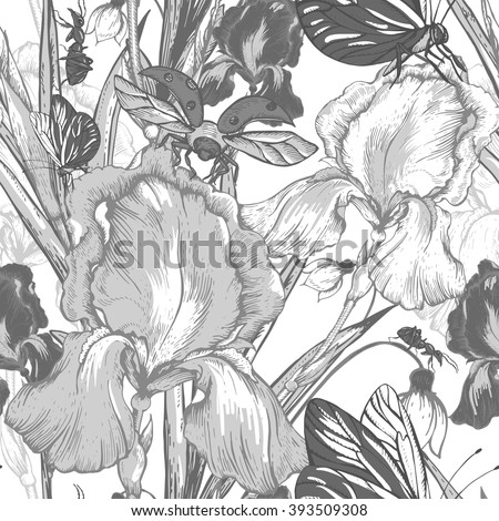 Vintage garden flowers vector seamless pattern, Botanical shabby chic illustration iris, ant, butterfly, ladybird wildflowers  leaves and twigs  Floral design elements.