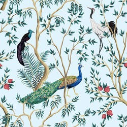 Vintage garden pomegranate fruit tree, exotic bird, peacock floral seamless pattern blue background. Exotic chinoiserie wallpaper.