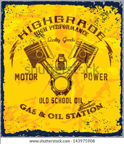 vintage gas & oil station sign.vintage power oil vector print