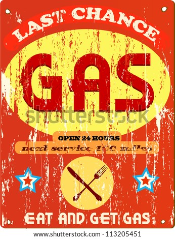 Vintage gas station and diner sign, vector illustration