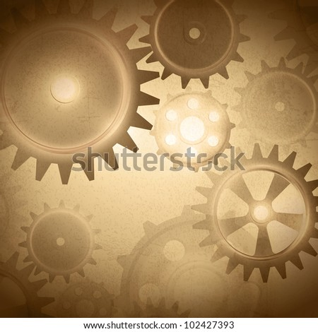 Vintage gear system at grunge background