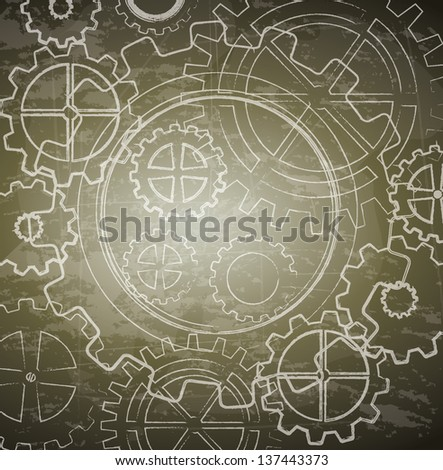 Vintage gears over brown background vector illustration