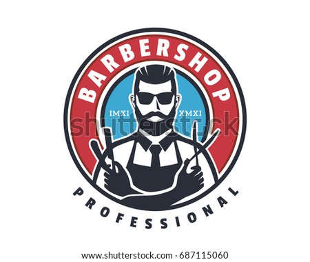 Vintage Gentleman Close Shave Barbershop Logo Emblem