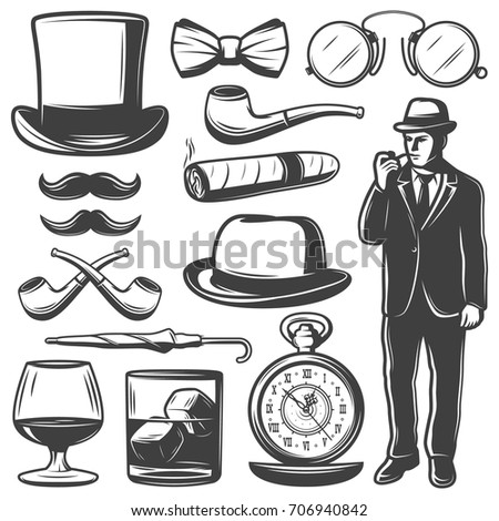 Vintage gentleman elements set with man bowler hat bow tie mustache umbrella clocks drinks glasses smoking pipe cigar isolated vector illustration