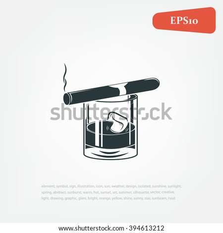 Vintage gentleman emblems, labels, badges and design elements.  Cigar and whiskey. vector