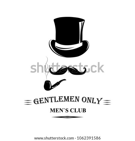 Vintage gentlemen elegance logo. Man`s club logo template with place for your text. Vector design for cards, invitation, t-short, company `s logo.  Stock fotó ©