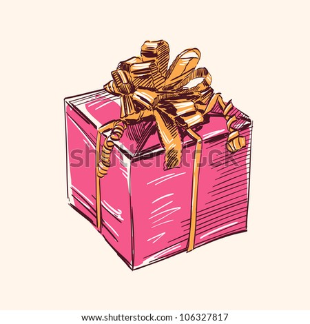 Vintage gift box with  bow vector illustration