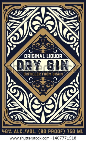 Vintage Gin label for packing,  Gold and white