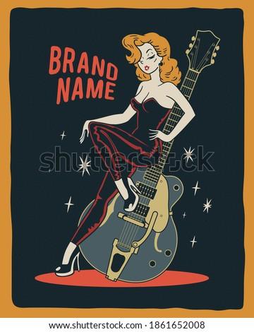 Vintage girl. Rockabilly pinup girl sitting on vintage guitar Stock fotó ©