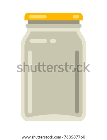 Vintage glass mason jar in modern flat vector illustration