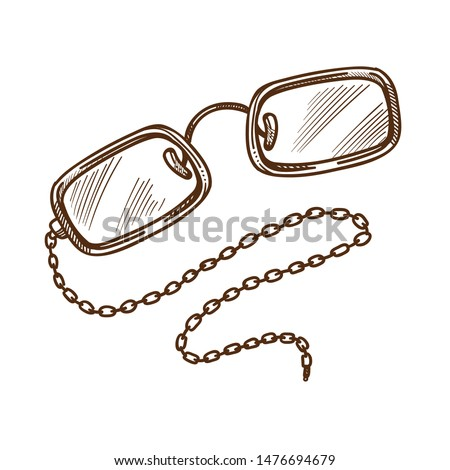 Vintage glasses or eyeglasses on chain isolated sketch, accessory or eyewear vector. Optical device, retro style and eyesight improvement. Glass and frame, vision correction, gentlemans spectacles
