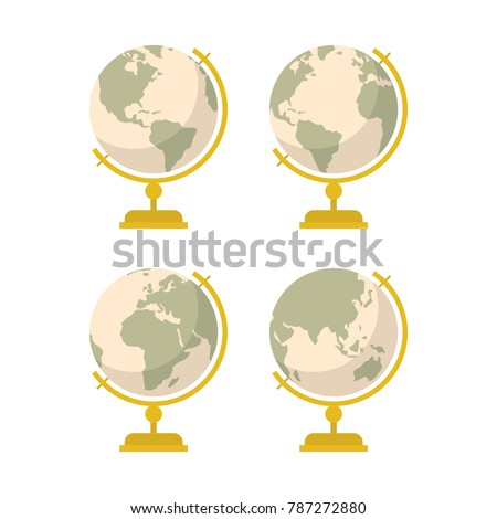 vintage globe icons set. vector ...