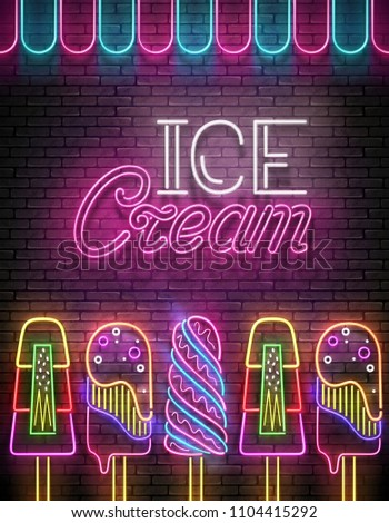 Vintage Glow Poster with Ice Cream Lolly and Inscription. Neon Lettering. Template for Flyer, Banner, Invitation. Brick Wall, Vertical Seamless. Vector 3d Illustration. Clipping Mask, Editable