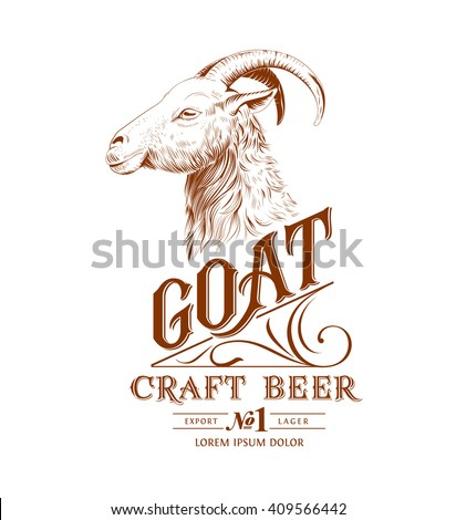 vintage goat logo with hand