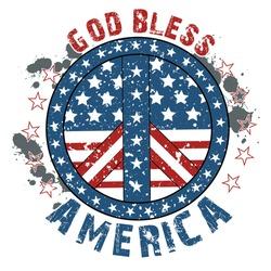 VINTAGE GOD BLESS AMERICA PEACE LOGO FLAG