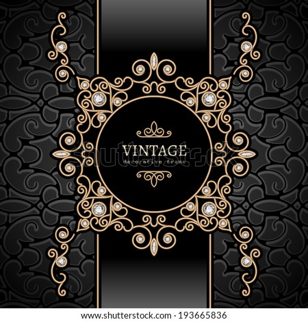 Vintage gold background diamond vignette vector jewelry frame eps10