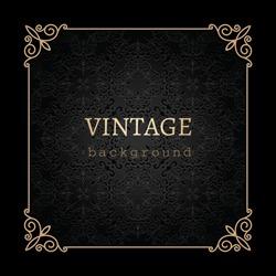 Vintage gold background, vector antique frame on black
