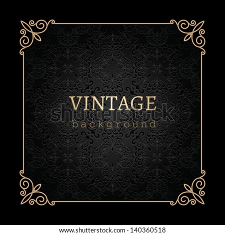 Vintage gold background, vector antique frame on black