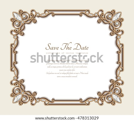 vintage gold background vector rectangle jewelry frame with ornamental border save the date card