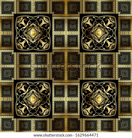 Vintage gold 3d greek vector seamless pattern. Baroque Damask ornamental background. Geometric repeat backdrop. Luxury greek key meanders squares ornament. Golden flowers, leaves, shapes, buttons.