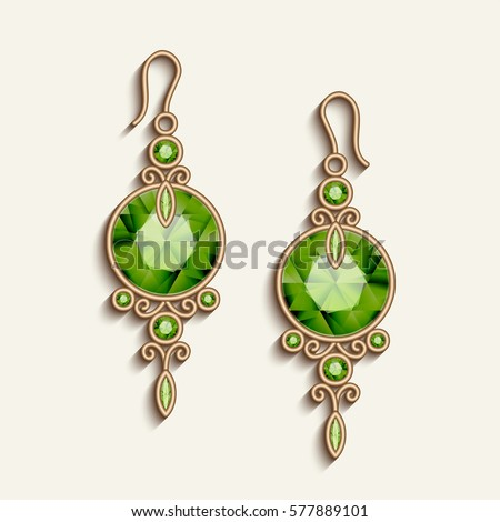 Vintage gold jewelry earrings with green gemstones, jewellery pendants, filigree women's decoration, vector embellishment on white, eps10