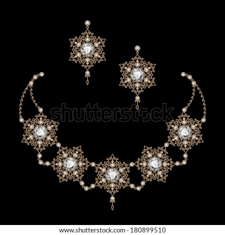 Vintage gold jewelry necklace and earrings filigree vector jewellery on black eps10