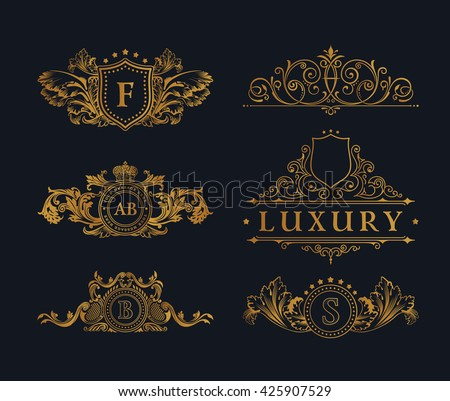 Vintage gold logos crest set. Flourishes Calligraphic royal Ornament. Elegant emblem monogram luxury logotype. Floral line design. Vector sign, restaurant boutique, heraldic, cafe, hotel, heraldry