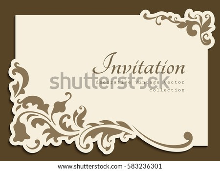Vintage gold rectangle frame with floral corner decoration and cutout paper border, vector wedding invitation or name card template, eps10
