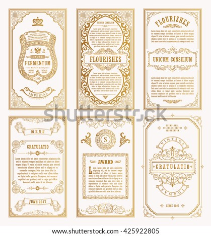 vintage gold vector set retro