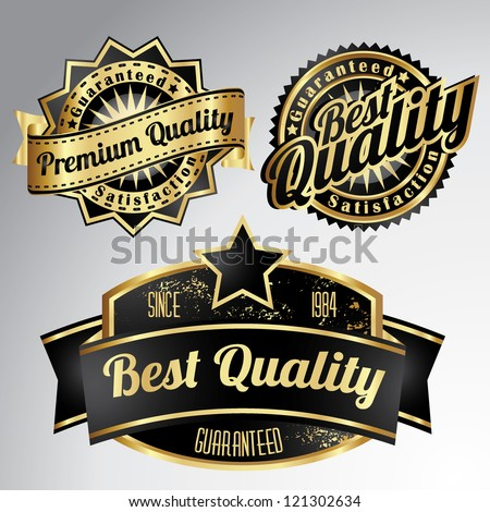 vintage golden black premium quality labels