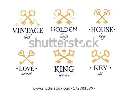 vintage golden keys set old